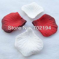 2000pcs Fashion silk rose petal white with dark red rose petals for weddings silk petal throwing flowers 20bags 100pcs/bag