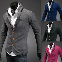 New Fashion Korean Men Slim collar small Cardigan Outwear collar mixed colors free shipping 9092