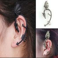 Wholsale punk gothic dragon earrings black wrap earrings 24 pieces  / lot  FREE shipping