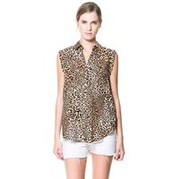 Leopard print haoduoyi print sleeveless turn-down collar shirt 6 full