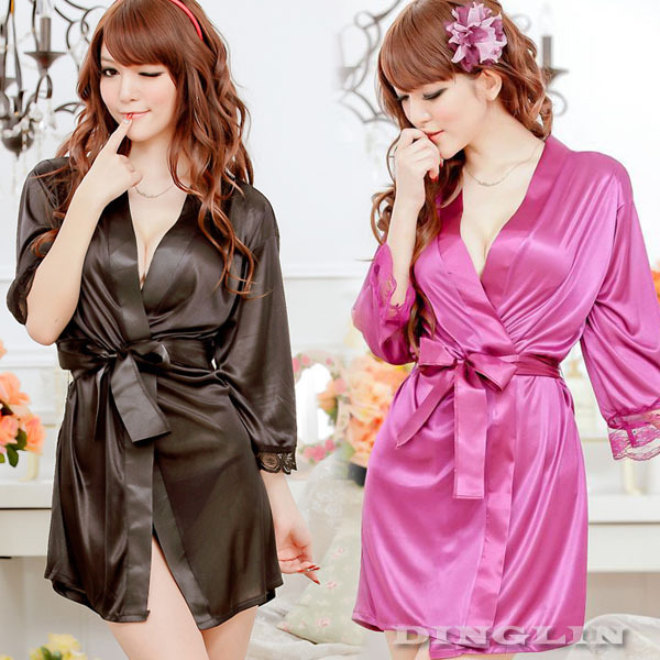 Womens Ladies Open Front Sexy Lingerie Set Robe Pajamas Nightgown Sleepwear Costume Thong Underwear Chemise Free Shipping 4010(China (Mainland))