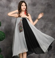 Chinese style summer  fashion national trend colorant match expansion stripe vintage two ways dress