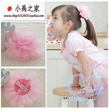 Child hair accessory hair accessory female child hair accessory headband pink big flower headband rubber band braid hair