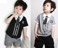 2014 summer male child preppy style piece set 100% short-sleeve cotton shorts set children's clothing