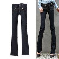 Free shipping Denim - gentlewomen slim elegant elastic bell-bottom jeans with belt