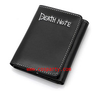 Death note purse letter purse black double strap short design buckle wallet