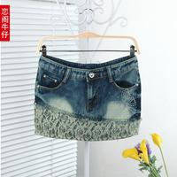 Free shipping 2013 denim skirt denim fashion slim hip short skirt bust skirt female lace denim skirt