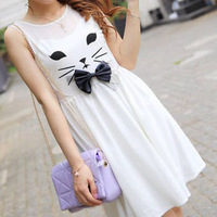 Women's 13 cat bow sweet princess dress yarn slim sleeveless one-piece dress