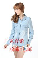Free shipping Fashion water wash thin denim shirt plus size denim outerwear shirt
