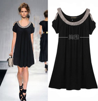 2013 women summer fashion handmade beaded strapless short-sleeve pure cotton OL high quality one-piece dress plus size fat girl