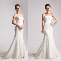 The new European version of the High-End Hand-Sewn Beads Lace Wrapped Chest Slim Fishtail Trailing Wedding.
