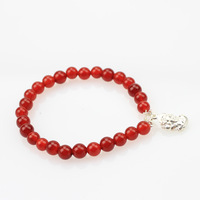 Free Shipping! Chinese Style Pure Silver Red Agate For Health Lucky Bracelet