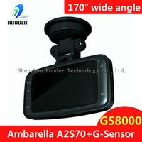 "100% Original GS8000 Car dvr 2.7"" LCD Ambarella full hd1920X1080P30fps with G-Sensor Video recorder DVR free shipping"