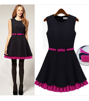 2014 European summer fashion women chiffon dress cotton elegant brand channel design cute woman maxi prom dress princess belt