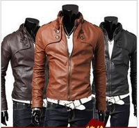 2013 men's clothing slim male leather jacket outerwear male 50