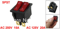 AC 15A/250V 20A/125V Double Red Light 6P SPST ON/OFF 2 Way Snap in Rocker Switch