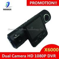 NEW ARRIVAL! 5.0 Mega Full HD Dual Lens+G-Sensor+GPS+IR Light Car DVR Car Black Box X6000