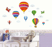 Wholesale Removable Nursery Vinyl Wall Decor Stickers Decals Hot Air Balloon Wall Art Stickers 50x70cm Mix Order 10pcs/lot