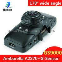 60fps Ambarella CPU 178degree super wide angle filter lens 5M CMOS Sensor Full HD H264 Car Video Recorder G9000 Russian
