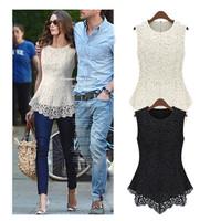 Fashion 2014 Women Sexy Flower Lace Hollow Sleeveless Body Chiffon Blouses White Black Vivi Shirt S/M/L/XL