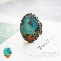 Fox cat ring 2-illust handmade gem time jewelry