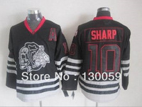 Free Shpping Wholesale Cheap NHL Hockey Jerseys Men's Skull Blackhawks #10 Patrick Sharp Jersey,Embroidery Logos