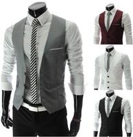 Free shipping 2013 new Korean Men Slim V-neck vest vest  M~XXL