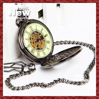 2013 Vintage Skeleton Unisex Mechanical Pocket Watch Noctilucent Wholesale 10pcs/lot EMS DHL