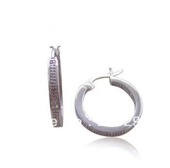 Fake Beads Inside/Outside Hoop Design Hinged Curve Post Earring