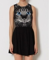 IRIS Knitting DR-105 Fashion 3D Cat Printed Dress For Women Cotton Vest Dresses Punk Patchwork Patten Tops Black Gray
