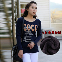 Trend 2013 spring plus size plus velvet thermal basic shirt long-sleeve T-shirt 3022