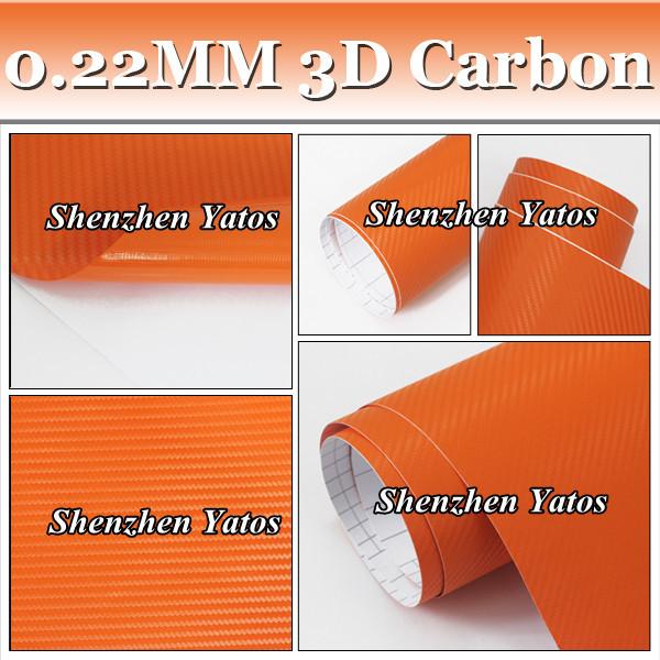 Free Fedex 3D Carbon Fiber Orange Wrap Car Sticker DIY Styling Film Air Channel(China (Mainland))