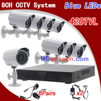 Free shipping!8CH Network DVR Digital Video Recorder System With 8pcs CMOS Camera Kits with CCTV Video Balun and CCTV Power