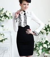 2013 Free Shipping Women's European Style High Waist Tunic Slim OL Pattern Buttons Decorated Slim Skirt Black MZ12032913 S M L