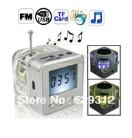 FREE SHIP!NiZHi TT028 transparent mini speaker with FM radio LED Screen ,Micro SD/TF USB Disk Speaker for MP3/4