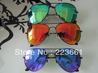 2013 classics RB 3025 gold black frame reflective aviator mirror sunglasses brand designer glass rb3025 ice blue Free shipping