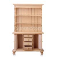 Free Shipping 1/12 Dollhouse Miniature Furniture Multifunctional Wooden Cabinet Bookshelf - Burlywood