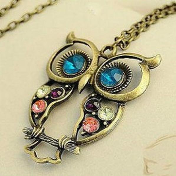 LZ Jewelry Hut N161 The 2014 New Wholesale Fashion Punk Alloy Owl Coloful Rhinestone Womans Necklace