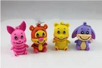 New 4pcs/lot cartoon cute animals usb 2.0 memory flash stick thumb pen drive free shipping
