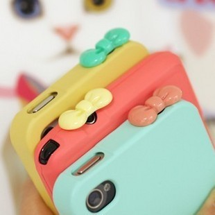 2013  new hot sale Mobile phone headphones plastic dust plugs cartoon bow mobile phone accessories a017
