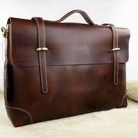 Top Quality   Mens Vintage Real Leather Messenger Shoulder Bag Laptop New Genuine Leathen  Free Shipping