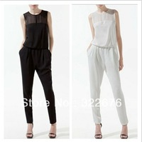 2013 New Women's Fashion European Pure Color Hollow Back Graceful Sleeveless Long Chiffon Jumpsuit White/Black CS13040106 S M L