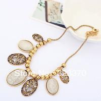 Mixed 4 colors Fashion vintage oval design elegant short necklace