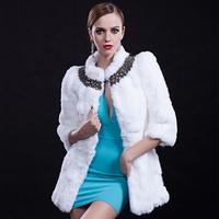 2014 autumn winter mandarin collar three quarter sleeves medium-long women 100% real natural rabbit fur coat  Diamonds white 40
