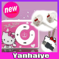 new mini clip hello Kitty MP3 player support TF card with USB Cable Earphone Crystal NO Box Free shipping Retail and wholesale