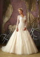 Royal princess lace slit neckline bag long-sleeve train princess wedding dress new arrival 2013