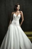 2013 V-neck strap tube top style big train sweet princess wedding dress