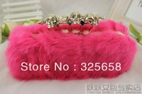 2013 rabbit fur bags evening bag bags clutch skull ring day clutch women's fur handbag