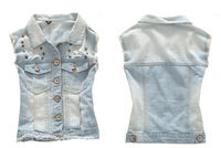 2013 summer new rivets wild street fashion denim women's cool casual vest waistcoat sleeveless jacket SZC9335