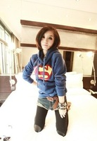 East Knitting AS-018 new winter women's coat Superman High Quality Thicken Fleece Hoodie Hot Sale Free Shipping